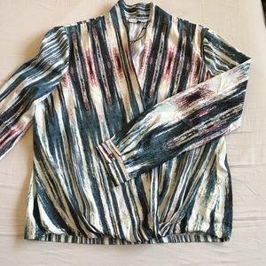 Waverly Grey Wrap Style Long Sleeve Blouse